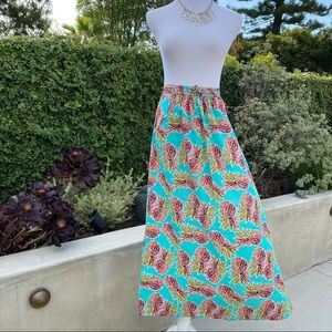 All for Color PINEAPPLE print MAXI SKIRT Pockets